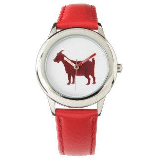 水彩画の赤いヤギのSilhoutteの腕時計 ウオッチ