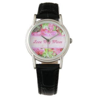 水彩画の赤紫のアジサイの母の腕時計 ウオッチ