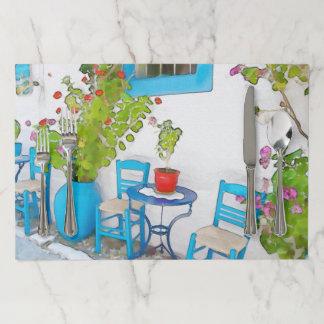 水彩画の通りの眺め ペーパーランチョンマット