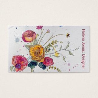 水彩画の野生の花およびシャクヤクの名刺 名刺