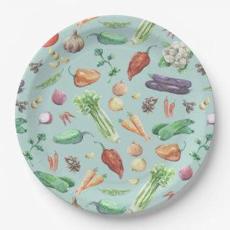 水彩画の野菜及びスパイスパターン ペーパープレート