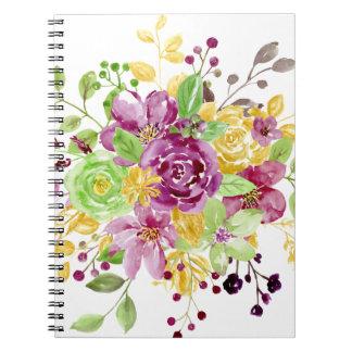 水彩画の金ゴールドの望ましい花束 ノートブック