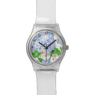 水彩画の青いアジサイwのトンボの夏 腕時計