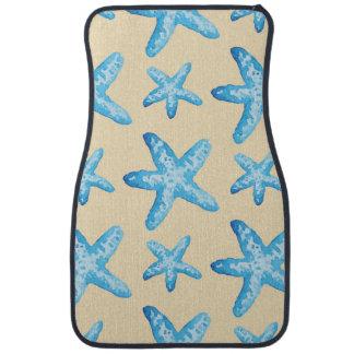 水彩画の青いヒトデパターン カーマット