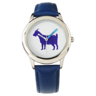 水彩画の青いヤギの腕時計 リストウオッチ