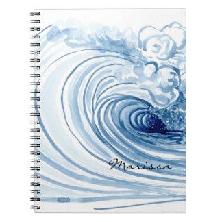 水彩画の青い波のコンテンポラリーでモダンな装飾 ノートブック
