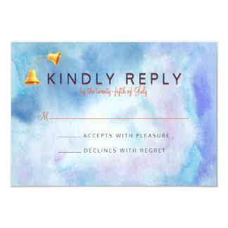 水彩画の青い結婚式の鐘RSVP カード