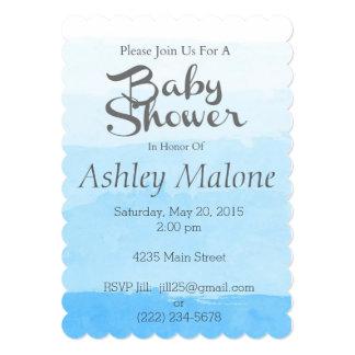 水彩画の青くグラデーションなベビーシャワーの招待状 カード