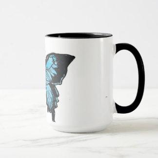 水彩画の青及び黒いアゲハチョウの蝶マグ マグカップ