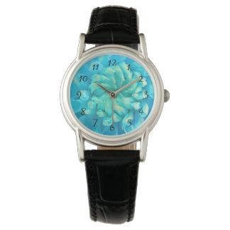 水彩画の青緑のダリアの花 腕時計