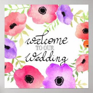 水彩画の風変わりな花のリースの結婚式の印 ポスター