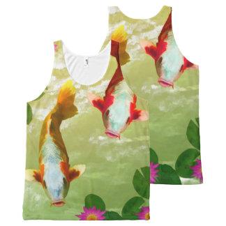 水彩画の魚の水泳の写真撮影のプリント オールオーバープリントタンクトップ