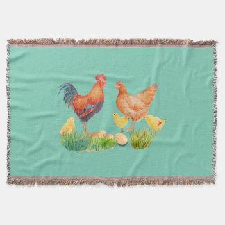 水彩画の鶏家族の投球敷物 スローブランケット