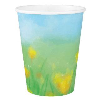 水彩画の黄色いチューリップ 紙コップ