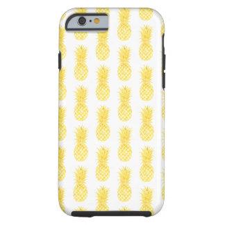 水彩画の黄色いパイナップル電話箱 ケース