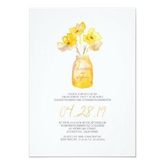水彩画の黄色い花の婚約パーティ 12.7 X 17.8 インビテーションカード