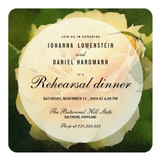 水彩画の黄色バラの花のリハーサルの夕食 13.3 スクエアインビテーションカード