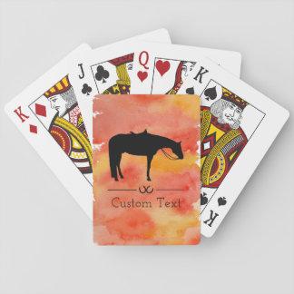 水彩画の黒い西部の馬のシルエット トランプ
