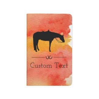 水彩画の黒い西部の馬のシルエット ポケットジャーナル