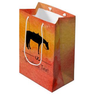 水彩画の黒い西部の馬のシルエット ミディアムペーパーバッグ