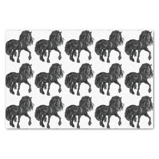 水彩画の黒いFriesianの馬のティッシュ 薄葉紙