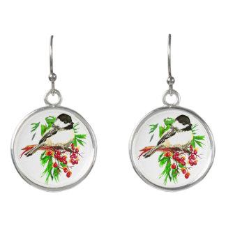 水彩画の黒によっておおわれる《鳥》アメリカゴガラの鳥のクリスマス イヤリング