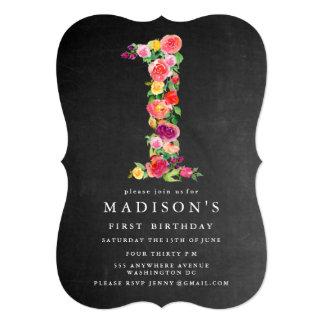 水彩画の黒板の女の子の第1誕生日の招待 12.7 X 17.8 インビテーションカード