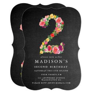 水彩画の黒板の女の子の第2誕生日の招待 12.7 X 17.8 インビテーションカード