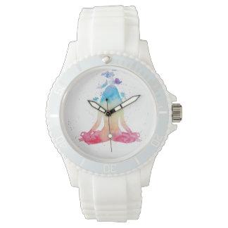 水彩画の黙想のヨガのはす姿勢の腕時計 腕時計