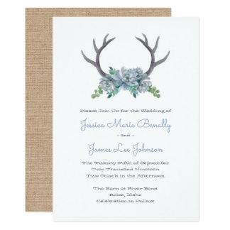 水彩画の(雄ジカの)枝角およびEcheveriaの国の結婚式 カード