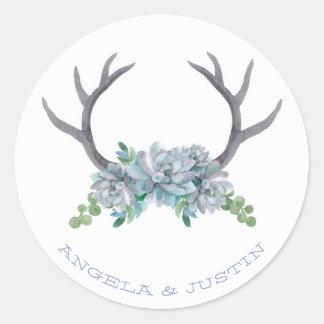 水彩画の(雄ジカの)枝角およびEcheveriaの国の結婚式 ラウンドシール