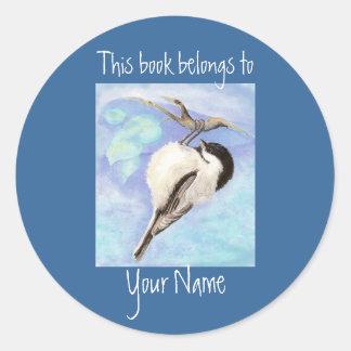 水彩画の《鳥》アメリカゴガラのエクスリブリス ラウンドシール