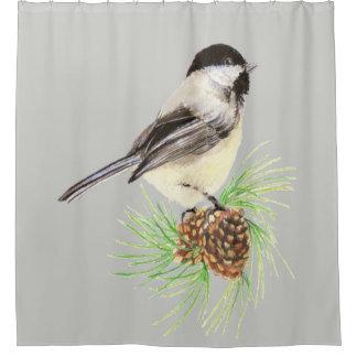 水彩画の《鳥》アメリカゴガラの鳥のカスタムな背景色 シャワーカーテン