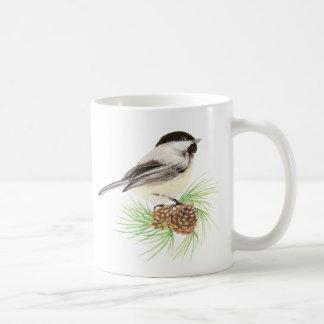 水彩画の《鳥》アメリカゴガラの鳥及びマツ自然の芸術 コーヒーマグカップ