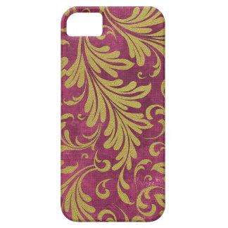 水彩画のAcanthusは紫色のマゼンタの金ゴールドを去ります iPhone SE/5/5s ケース
