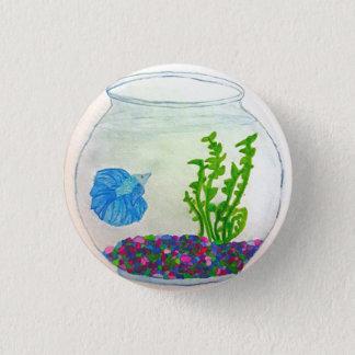 水彩画のBettaの魚 3.2cm 丸型バッジ