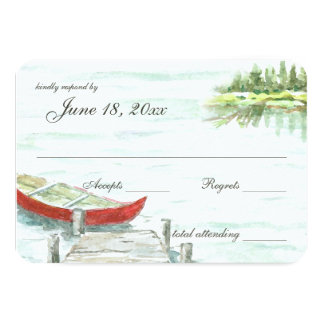 水彩画のcanoe湖の結婚式の応答 カード