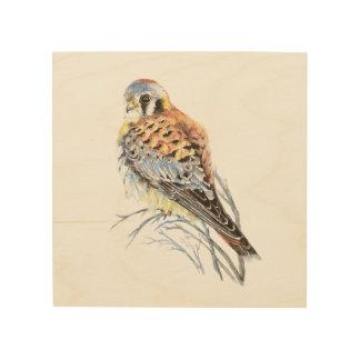 水彩画のKestrelのハイタカの鳥の自然の芸術 ウッドウォールアート