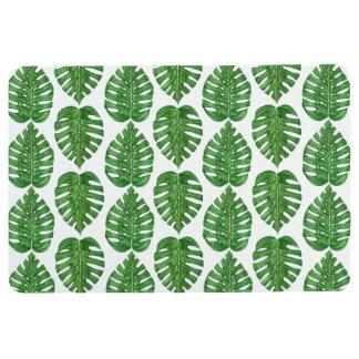水彩画のMonsteraの葉 フロアマット