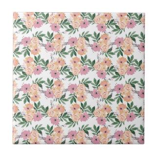水彩画のPink&Peachの花模様 タイル