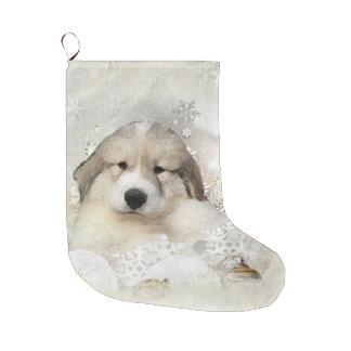 水彩画のPyrの子犬 ラージクリスマスストッキング