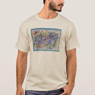水彩画のSquiggle象カード Tシャツ