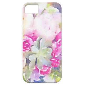水彩画のSucculent及びバラ iPhone SE/5/5s ケース