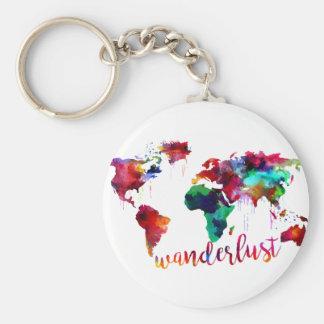 水彩画のWanderlustの世界地図 キーホルダー