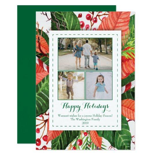 水彩画はクリスマス3の(3)写真カードを去ります カード