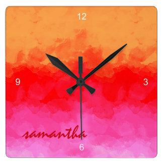 水彩画はフルーツサラダID134をもたらします スクエア壁時計