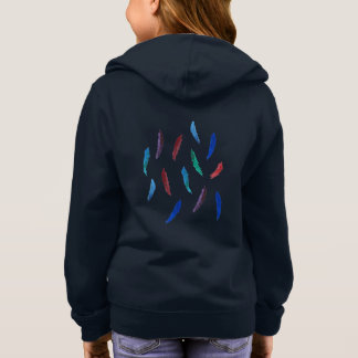 水彩画は女の子の基本的なジッパーのフード付きスウェットシャツに羽をつけます スウェットシャツ