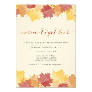 水彩画は感謝祭のパーティの招待状を去ります カード