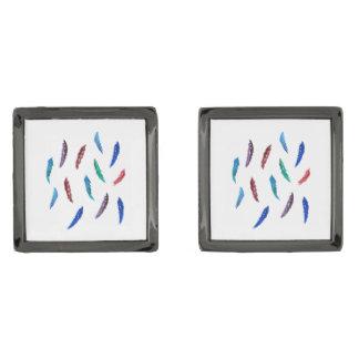 水彩画は正方形のカフスボタンに羽をつけます ガンメタルカフスボタン