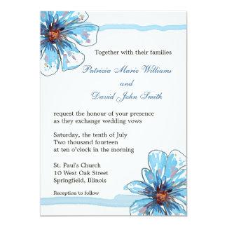 水彩画は開花しまInvitations|Blueの花柄を結婚します カード